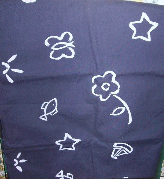 """FABRIC Navy Blue White,  Children Art, 1 Yard, 60"""" Wide, Cushions, Bags, Backpack, Shorts, Pillow Cover"""