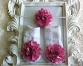 Baby Satin Flower Headband with Matching Socks