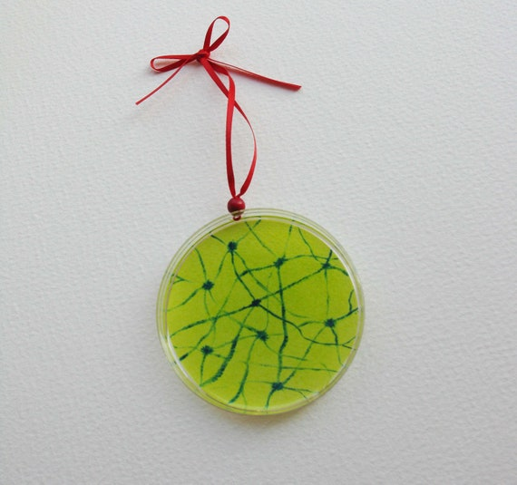 Petri Dish Ornament G2: Green with Neurons
