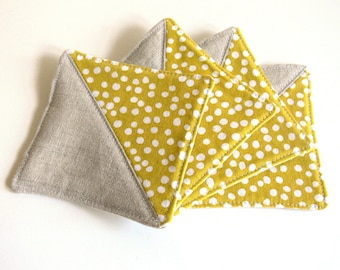 Coasters, Set of 4 - Linen and Stamped Dot in Mustard