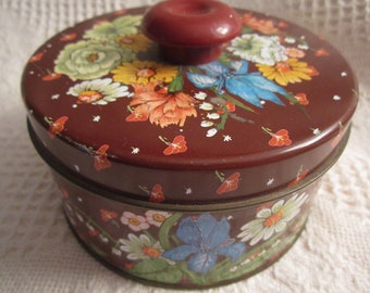 Vintage Floral Tin Container with Knob by Max Factor London Paris Brown Advertising