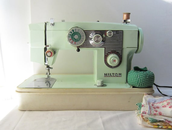 Vintage Green Hilton Sewing Machine Model 322 with Many Decorative Stitches - Works Great