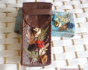 Dark Brown Leather Hand Stitched Eyeglass Case (cowhide)