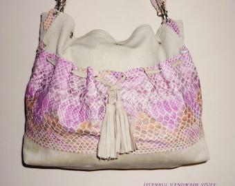 Khaki   Shoulder Bag/ Everyday Bag  with Leather Shirred Pocket