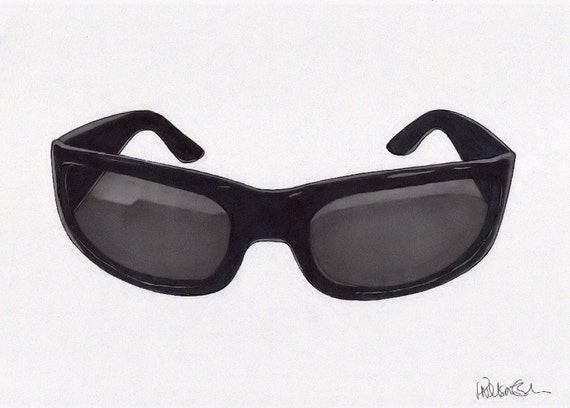 THE MODERNISTS - Sunglasses - Original Signed Paul Nelson-Esch - Drawing Art Illustration
