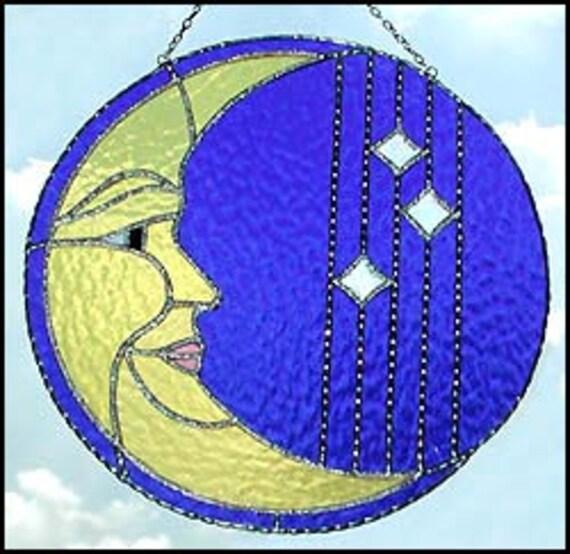 "Stained Glass Suncatcher - Yellow Moon Sun-Catcher - Handcrafted Glass Sun Catcher - Glass Art -10"" - 9752-YL"