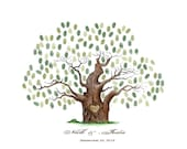Hand Drawn Wedding Guest book tree .wedding tree  Personalized By Up To 250 Guest's Fingerprints - 20x30-With 2 ink pads and instructions