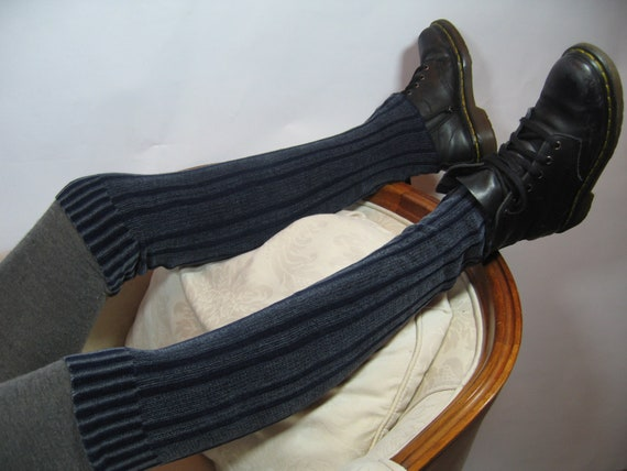 Boot Socks Over the Knee Socks Navy Blue Thigh High Leg Warmers Bohemian Clothing A616