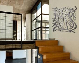 Art Nouveau Web No. 6 in Brushed Aluminum 35 X 35