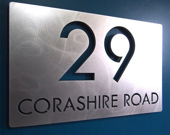 CUSTOM Modern Deluxe Floating Address Sign in Aluminum