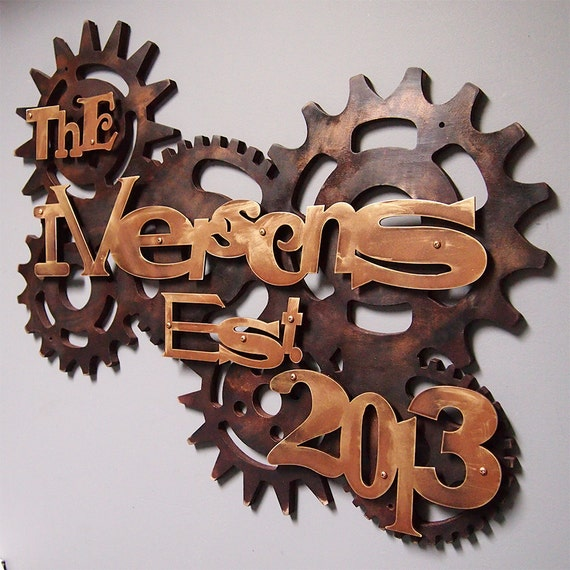 Steampunk Family Sign in Wood & Aluminum