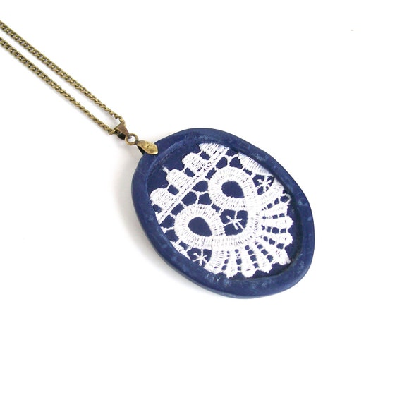 RESERVED White-on-blue lace pendant navy blue polymer clay oval romantic shabby chic necklace white lace nautical necklace