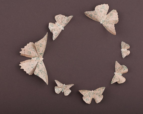 Wall Decoration Using Old Newspaper : D butterfly wall art vintage newspaper paper butterflies for