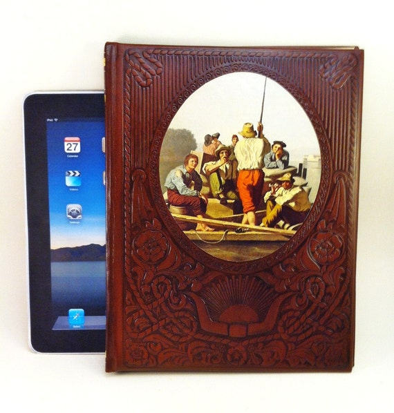 iPad Case Converts to Lap Pad and Stand made from a Book with Tooled Leather Look