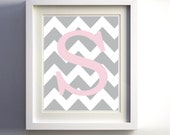 Personalized Monogram Chevron Initial Grey Light Pink Custom wall decor more colors available