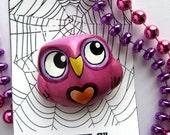 Purple Love Owl - wearable art pin