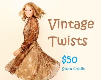 Vintage Twists 50 dollar store credit gift voucher