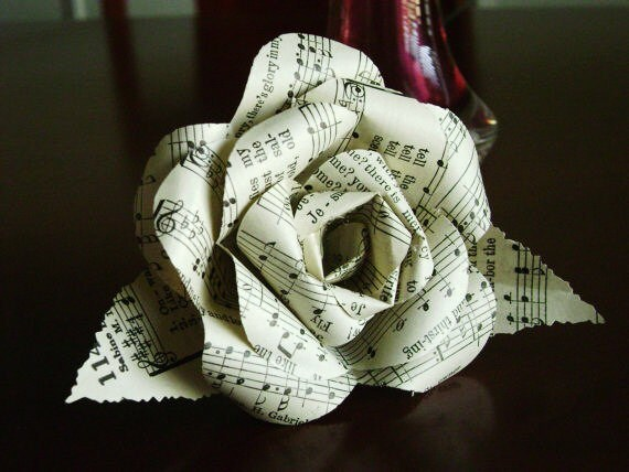Vintage hymnal book music paper flower rose with wire stem and for Paper roses sheet music free