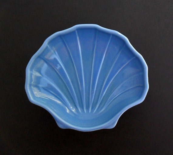 vintage soap dish pfaltzgraff sea shell country blue ceramic