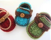 Baby Boy Booties Pattern, INSTANT DOWNLOAD, Boy's Moccasins Crochet Baby Booties Pattern ( pdf crochet pattern for boys) 4 sizes