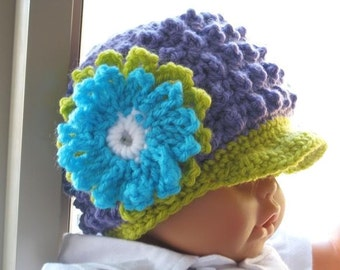 Crochet Pattern Hat , Newborn Baby to Adult,  Boy and Girl, Pdf pattern - Visor Beanie