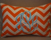 Monogrammed Mandarin Orange Chevron Print Throw Pillow-Small Lumbar