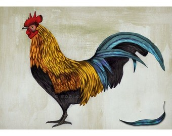 DIGITAL Rooster illustration-Proud rooster in acrylic, watercolor and pencil-instant download of original illustration