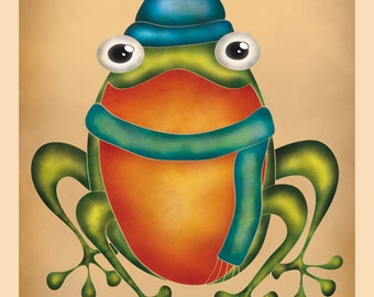 DIGITAL Whimsical frogs-instant download from original illustration