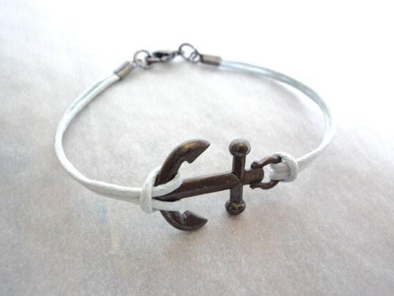 Gunmetal Anchor Bracelet on light blue cord