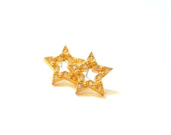 Avon Earrings- Rhinestone- Star- Studs- Vintage- Pierced-  1970s