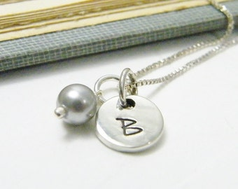 bride and bridesmaid necklaces swarovski pearl or crystal with hand stamped initial charm