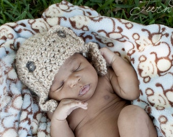 Baby Aviator Hat -  Newborn Aviator Hat - Baby Hat - Photography Prop - By JoJo'sBootique