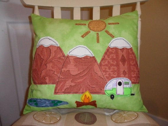UK Camping in the Mountains, pillow case, cushion cover, retro, vintage fabric