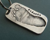 Baby Footprint Silver Personalized Keychain-Father's Day gift