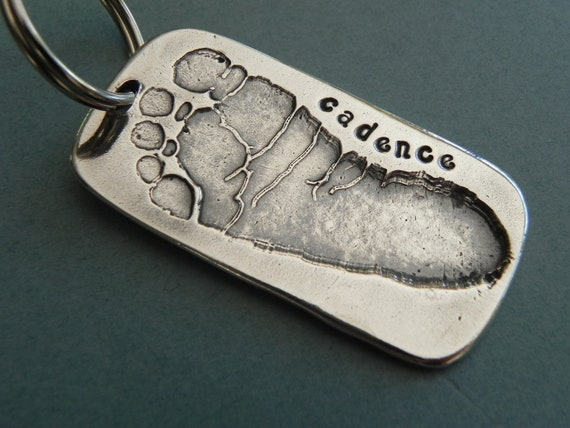 Baby Footprint Silver Personalized Keychain-Mother's By