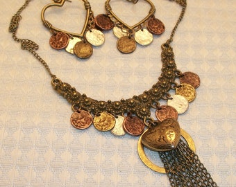 Mixed Metal Necklace and Earring Set, Free US Shipping
