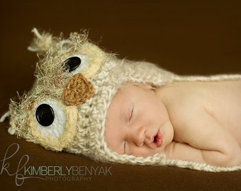 Baby Owl Hat, 3-6m Owl Hat, Soft and Fuzzy Owl Hat ,Crochet Baby Hat Photo Prop