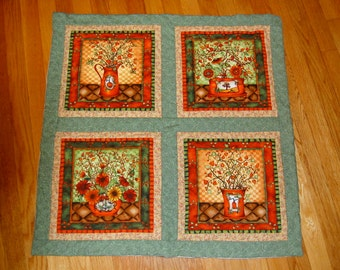 Set of 3 Fall Harvest Wall Hangings, Hand Quilted Table Runner