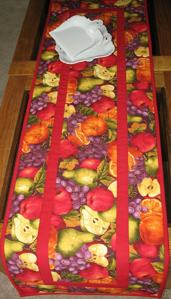 Fruit Table Runner Quilted Rich Beautiful Color
