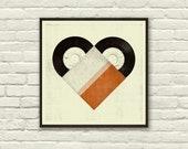 VINTAGE VINYL LOVE - 8 x 8 Art Print, Poster, Heart, Music, Nursery, Boutique, Hipster, Vintage Style, Retro Home