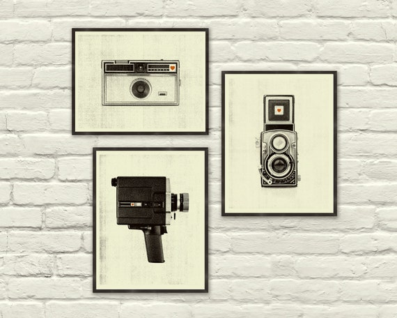 VINTAGE CAMERA LOVE - 8.5 x 11, 8 x 10 Art Prints, Posters, Heart, Cassette Tape, Vinyl, Clock, Radio, Music, Nursery, Boutique, Hipster