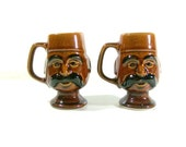 Vintage Brown Man Mustache Mugs