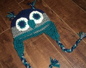 Owl Hat with earflaps- newborn to 18 month sizes- navy, gray and teal