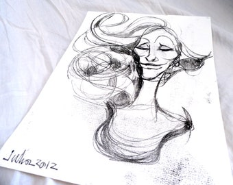 Original Ink Monotype Face Figure Drawing 02 by juliacalimera