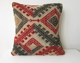 Old handmade kilim (rug) pillow case -from eastern anatolia