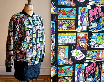 90s Silk Bomber Jacket Nicole Miller Vintage with COMIC COMIC CON Ski Jacket Print size Large