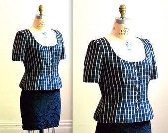 Vintage Silk Plaid Top Size Medium Navy and White Bill Blass// Navy and White Checkered Plaid Jacket