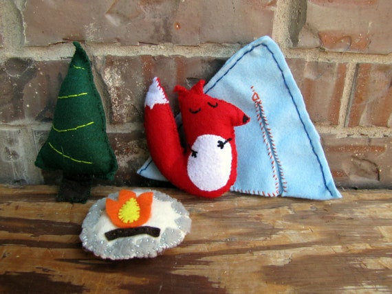 Plush Fox Woodland Camping Set, Whimsical Toy
