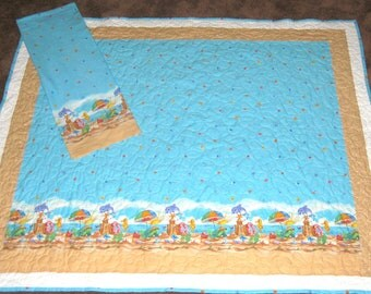 Beach Themed Small Quilt & Pillowcase  45x52