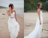 Flowy fairy  Beach Dress-Custom chiffon wedding dress-sweetheart natrual waist A-line floor length